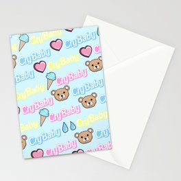 CRY BABY PRINT- PASTEL BLUE Stationery Cards