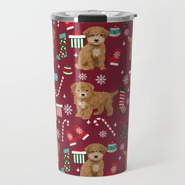 Bichpoo christmas dog breed holidays pet gifts pet friendly stockings candy canes snowflakes Travel Mug