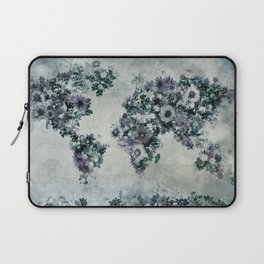 world map floral black and white Laptop Sleeve