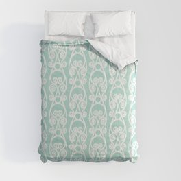 Modern Farmhouse Scroll Ikat Pattern - Blue White Comforters