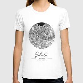 Jakarta Area City Map, Jakarta Circle City Maps Print, Jakarta Black Water City Maps T-shirt