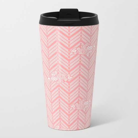 Coral Pink Chevron Floral Metal Travel Mug