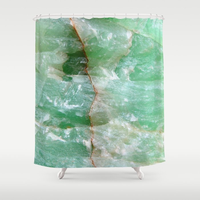 Crystalized Pale Green Quartz Slab with Copper Vein Shower Curtain ...