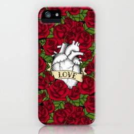 Heart and Roses_Love - Red iPhone Case