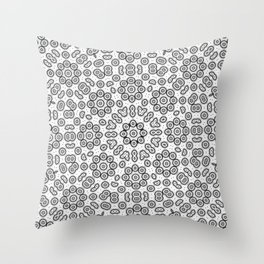 Abstract black and white cell division Throw Pillow