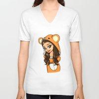 onesie V-neck T-shirts featuring Bear Onesie by Milou Baars