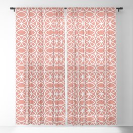 Pantone Living Coral and White Rings, Circle Heaven 2, Overlapping Ring Design - Digital Artwork Sheer Curtain
