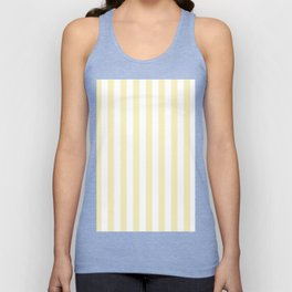Narrow Vertical Stripes - White and Blond Yellow Unisex Tank Top
