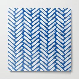 Painted Herringbone Stripe \\ Classic Blue Metal Print