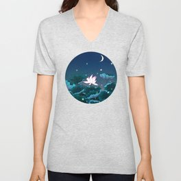 Minhwa: Lotus Pond at Night D Type Unisex V-Neck