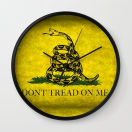 Gadsden Don't Tread On Me Flag - Worn Grungy Wall Clock
