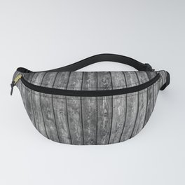 wood planks background black and white wooden texture Fanny Pack