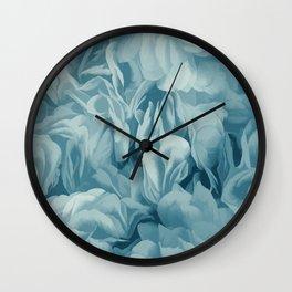 Soft Baby Blue Petal Ruffles Abstract Wall Clock