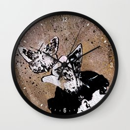 Long Gone Whisper II (street art graffiti painting, girl with butterflies) Wall Clock