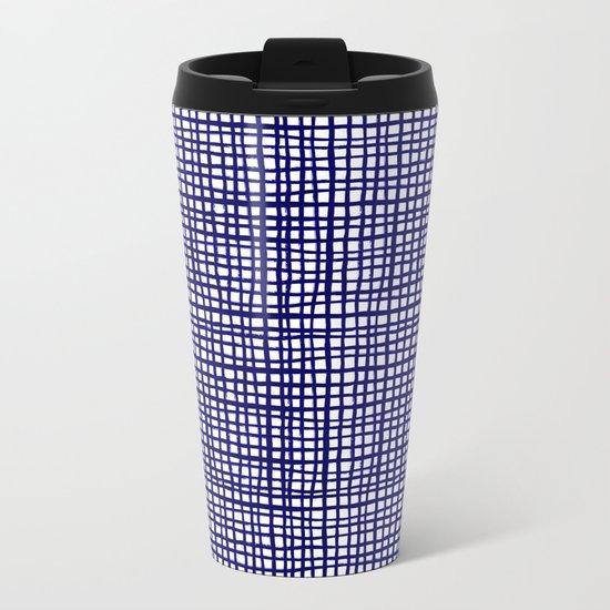 Grid indigo blue bold dramatic modern minimal abstract painting lines gridded pattern print minimal Metal Travel Mug