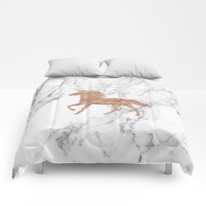 Rose Gold Unicorn On Marble Comforters By Peggieprints