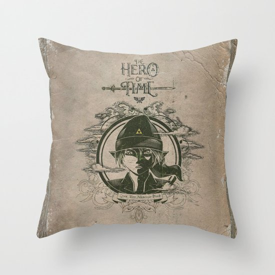 Legend of Zelda Link the Hero of Time Vintage Book Cover Throw Pillow