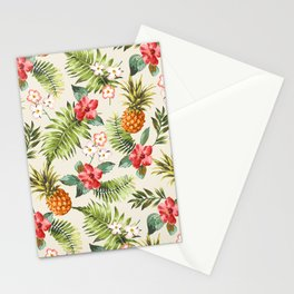 pineapple with tropical flower Stationery Cards