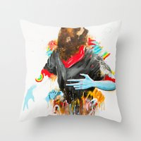 depression Throw Pillows featuring  Happy Depression by niuku
