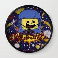 spaceship Wall Clocks featuring Spaceship!  by Brieana