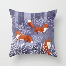 Foxes and Fireflies Throw Pillow