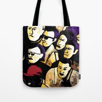 faces Tote Bags featuring Faces by Helen Syron