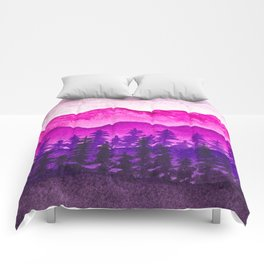 Purple and pink mountains Comforters