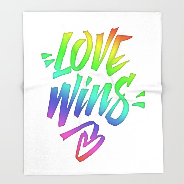 Love Wins Lettering with Rainbow colors Gradient Throw Blanket