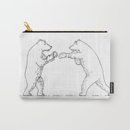 Two Grizzly Bear Boxers Boxing Drawing Carry-All Pouch