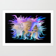 Woman Horse and Butterfly Art Print