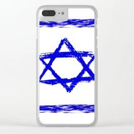 flag of israel 8-יִשְׂרָאֵל ,israeli,Herzl,Jerusalem,Hebrew,Judaism,jew,David,Salomon. Clear iPhone Case