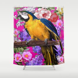 Blue & Gold Macaw Parrot Fuchsia Pink Floral Shower Curtain