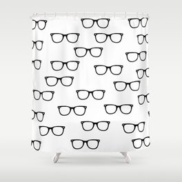 I See // Hipster Glasses Pattern Shower Curtain