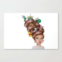 Childhood Cartoon Girl Drawing (Disn ey) Canvas Print