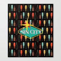 sin city Canvas Prints featuring Sin City by Chelsea Dianne Lott