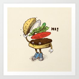 Burger Greeting Art Print