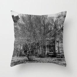 Disturbance At The Heron House - Black And White Throw Pillow