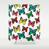 butterflies Shower Curtains featuring Butterflies by Julia Badeeva