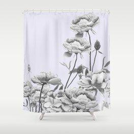 black and white peony i purple background Shower Curtain