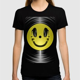 Vinyl headphone smiley T-shirt