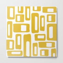 Retro Mid Century Modern Abstract Pattern 336 Mustard Yellow Metal Print