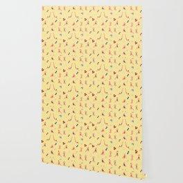 Retro Bathers in Lemoncream Wallpaper