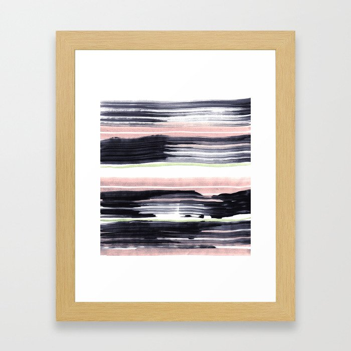 Black stripe Framed Art Print