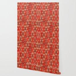 Southwest Shapes II // Bright Colorful Red Orange Green Creme Ornate Southwestern Tuscan Rug Pattern Wallpaper