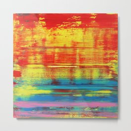 Sunny Sunset, Colorful Abstract Art Metal Print