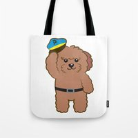 police Tote Bags featuring Poodle Police by Ball Ball and friends