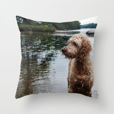Dog in a lake Throw Pillow