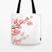 cherry Tote Bags featuring Cherry by Ale Ibanez