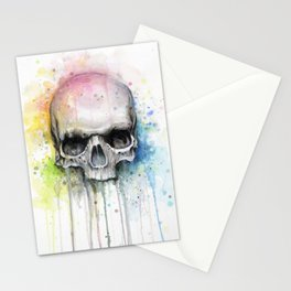 Skull Rainbow Watercolor Stationery Cards