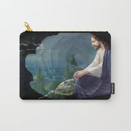Jesus Christ On Mount Olive With White Rose By Annie Zeno Carry-All Pouch